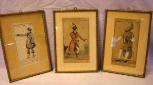 3 Stiche, colloriert, ca. 9 x 18 cm