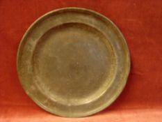 Zinnteller, runde Form, D. ca. 28 cm