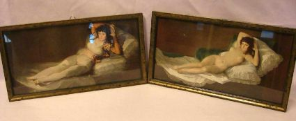 """Paar Rahmen, mit Kunstdrucken """"Liegender Akt"""", ca. 29 x 15 cm"""