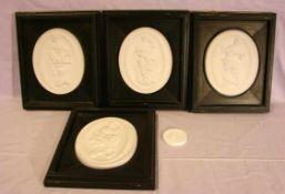 4 Bisquitte Porzellan Darstellungen, Meissen, im Rahmen, nach original Ausformungen einer Figur ...