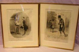 4 Stiche, sig. oder monogr. DAUMIER, (Types Parisienes, Bohemiens), verschiedene Motive