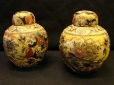 Paar Deckeldosen, Cloisonné, dekorativ, neuzeitlich, H.ca. 17 cm- - -22.00 % buyer's premium on