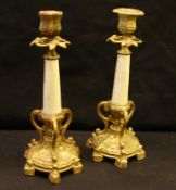Paar Kerzenleuchter, Metall, goldgefasst, H.ca. 27 cm- - -22.00 % buyer's premium on the hammer