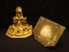 Wandapliken, Ton, gold gefasst, L.ca. 25 cm- - -22.00 % buyer's premium on the hammer price19.00 %