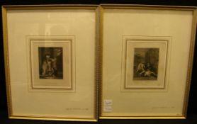 4 Stiche, Personendarstellungen, England, Außenmaß ca. 25 x 31 cm- - -22.00 % buyer's premium on the