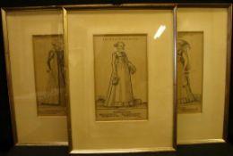 5 Stiche, verschiedene Personendarstellungen, Köln, ca. 18 x 29 cm- - -22.00 % buyer's premium on