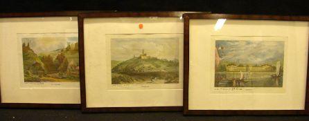 3 Drucke, Landschaften in Deutschland, ca. 9 x 14 cm- - -22.00 % buyer's premium on the hammer