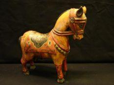 Pferd, Holz, bemalt, H.ca. 30 cm (kl. Beschädigungen)- - -22.00 % buyer's premium on the hammer