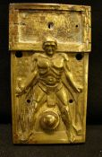 """Türklingel, Bronze, """"Atleth mit Hammer und Schwert"""", ca. 13 x 7 cm- - -22.00 % buyer's premium on"""