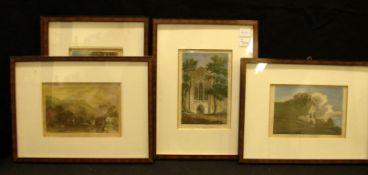 5 Stiche, coloriert, Landschaften, England, ca. 11 x 16 cm- - -22.00 % buyer's premium on the hammer