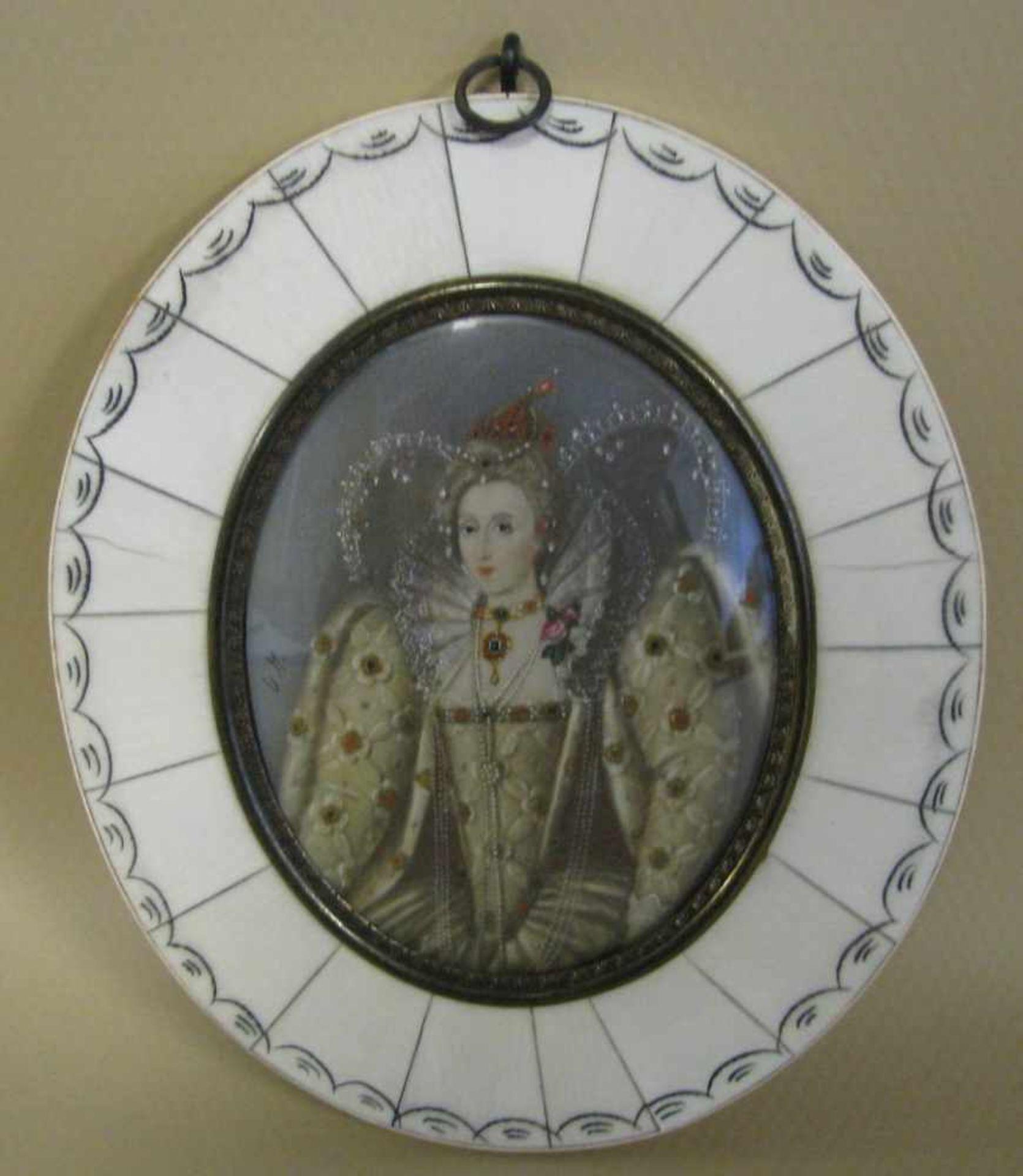 Miniatur im Rahmen, 'Elisabeth I.', monogr. 'U.M.', 13 x 11 cm.