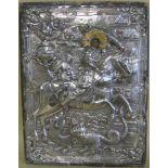 Ikone, Russland/Griechenland, 19. Jahrhundert, 'Der heilige Georg', reich betriebenes Silberoklad,