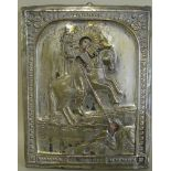 Ikone, Russland, 19. Jahrhundert, 'Heiliger zu Pferd', vergoldetes Messingoklad, 23 x 17,5 cm.