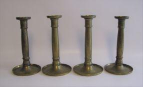 4 Kerzenleuchter, Biedermeier, 19. Jahrhundert, Messing, h 21 cm, d 11 cm.- - -19.00 % buyer's