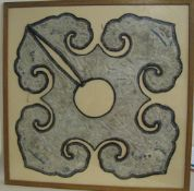 Teil eines Gewands (Kragen), China, wohl um 1800, feine Stickerei, 69 x 57 cm, verglaster Rahmen.- -