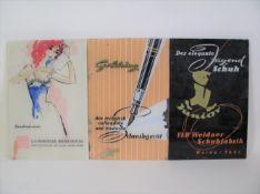 3 Glas-Werbetafeln, 1950er Jahre, VEB Feinwäsche Bruno Freitag, Goldring Schreibgerät, Weidaer