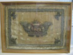 Stickerei, 18. Jahrhundert, 57 x 79 cm, verglaster Rahmen.- - -19.00 % buyer's premium on the hammer