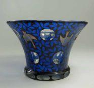Vase mit Vögeln und Blattwerk, Fachschule Haida, Entwurf attr. Karl Pohl für Johann Oertel, um