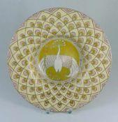 Jugendstil-Schale, wohl Frankreich um 1920Klarglas mit Dekor in Opakemaille, leicht gemuldet, im