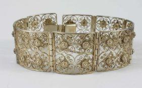 Filigranarmband, 835er SilberGew.26,50g, Steckschloss, Sicherheitskettchen, L.18cm, B.2,3cm