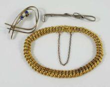 2 Broschen, 835er Silber und Doublé-ArmbandBroschen-Gew.6,82g, L.6cm und 4,5cm; Armband mit