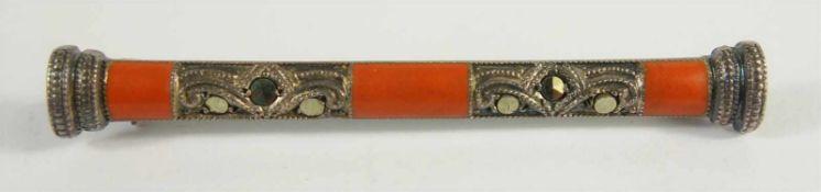 Brosche mit Korallen und Markasiten, Art Déco, 935 Silber, im Stil von Theodor Fahrner, Gew.2,51g,
