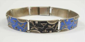 Armband mit Emaille in Fahrner-Art, 925 Silber, blau und schwarz emailliert, Markasitenbesatz tlw.zu