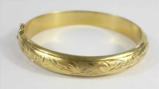 Armreif, 835 Silber / vergoldet, Gew.2,47g, scharniert, oval, florale Gravur, Steckschloss mit