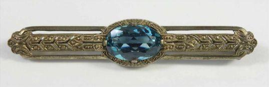 Brosche, Art Déco, 925 Silber, zentraler, blauer, facettierter Stein, Brosche mit