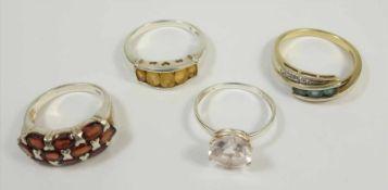 4 Ringe, 925 Silber, Gew.16,73g, unterschiedl.Steinbesatz, 1* Silber/vergoldet, 2* U.59 und 2* U.66
