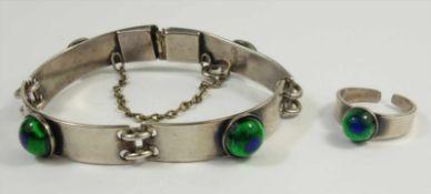 Armband und Ring mit Pfauenauge-Glasschmelz?, Jugendstil um 1910, versilbert, Armband aus 4