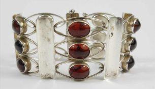 Armband mit Bernsteinen, 835 Silber, Fischland, Gew.42,11g, 15 ovale, klare, honigbraune