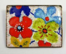 Brosche mit floralem Dekor, PERLI, Schwäbisch Gmünd, verchromtes Metall, Emaille, B.4,5cm, H.3,4cm