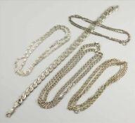 Konvolut Silberketten und Panzerarmband, 925 Ag, Gew.76,80g, unterschiedliche Stärken und Längen,
