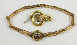 Armband, Jugendstil um 1910 und Schlangenbrosche, Andreas Daub, Pforzheim, 30er Jahre; Brosche: