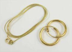 Schlangenkette und Paar Creolen, 925 Silber / vergoldet, 3,37g, Creolen-D.2cm, Ketten-L.48cm