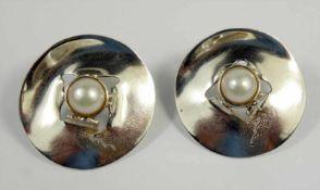 Paar Ohrstecker mit Perle, 925 Silber, Gew.8,10g, D.2,5cm, Steckbrisur (1 Schraube n.orig.)