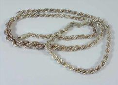 Kordelkette und Armband, 925er Silber, Gesamt-Gew.30,19g, Kette im Verlauf, L.45cm, Armband-L.20,