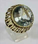 Aquamarin-Ring, 585er Gelbgold, Herstellerpunze GM, Gew.12,26g, Aquamarin, Rundschliffvariation,