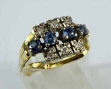 Saphir-Brillant-Ring, 585er Gelbgold, Gew.4,99g, 4 rd., facettierte Saphire zwischen jeweils 3