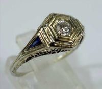Saphir-Diamant-Brillant-Ring, 585er Weißgold, Art Déco, Gew.2,22g, Dia.-Brill., total ca.0,20ct,