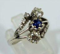Saphir-Brillant-Ring, 585er Weißgold, Gew.4,23g, rd., facettierter Saphir, ca.0,18ct, vivid, AA,