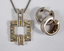 Kette mit Anhänger und ein Paar Creolen, 925er Silber, Gesamt-Gew.10,75g, Venezianerkette, L.42cm;