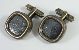 Paar silberne Manschettenknöpfe mit Lapislazuli, Gew.13,94g, Platte ca.2*2cm- - -18.00 % buyer's