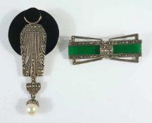 2 Broschen im Art-Déco-Stil, 925er Silber, Gesamt-Gew.33,52g, Markasiten- und Steinbesatz, 1* D.3,