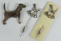 Brosche Beagle, 925er Silber und 2 Nadeln, Beagle Club Deutschland e.V., 835er Silber, Gesamt-Gew.