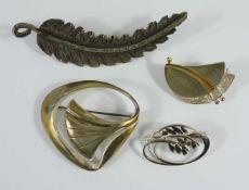 4 silberne Broschen, Gew.31,05g, unterschiedliche Formen, L. von 2,7cm bis 7cm- - -18.00 % buyer's