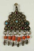 silberner Anhänger mit farbigen Steinen, Persien, Gew.18,1g, L.ca.7,5cm, B.4,8cmsilver pendant