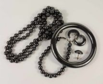 Armreif, Kette und Armband, Hämatit, Gesamt-Gew.205,8g, Kugelkette und -armband, L.80cm und 18cm,