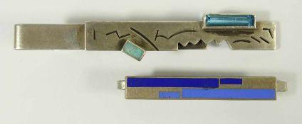 2 Krawattennadeln, 1* modern, 925er Silber, Gew.11,17g, mit blauem Stein und kleinem Opal (